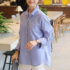 CLICK - Wide-Cuff Striped Shirt