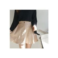 CHERRYKOKO - Linen A-Line Mini Flare Skirt
