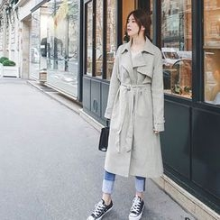 mimi&didi - Snap-Button Trench Jacket with Sash