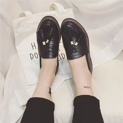 Laceuplux - Chunky Heel Tasseled Loafers