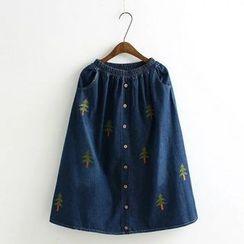 Aigan - 刺繡牛仔長裙