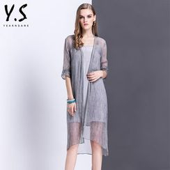 Y:Q - Set: Embroidered Long Light Jacket + Slip Dress