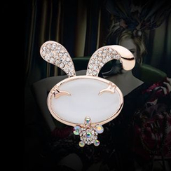 KINNO - Rhinestone Rabbit Brooch