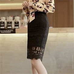 CHICLINE - Tasseled Hem Lace Skirt