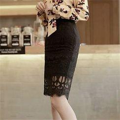 CHICLINE - Tasseled Hem Lace Skirt