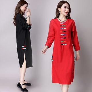 Sienne - Buttoned Long Sleeve Midi Dress