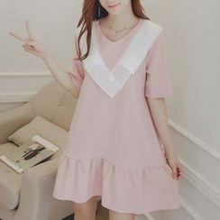 Ceres - Maternity Ruffle Hem Short-Sleeve Dress