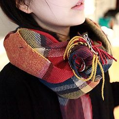 Rita Zita - Fringed Plaid Scarf