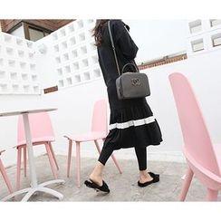 MARSHMALLOW - 3/4-Sleeve Pleated-Hem Midi Dress