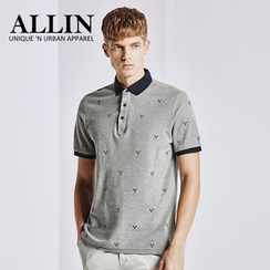 ALLIN - Contrast Trim Embroidered Short Sleeve Polo Shirt