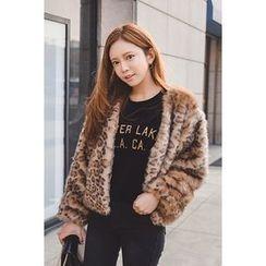 migunstyle - Leopard Faux-Fur Jacket