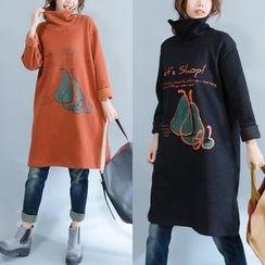 Epoch - Pear Print Turtleneck Long Sleeve Dress