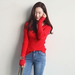NANING9 - V-Neck Slim-Fit Rib-Knit Top