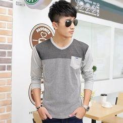 SOLER - Color Block V-Neck Long-Sleeve T-Shirt
