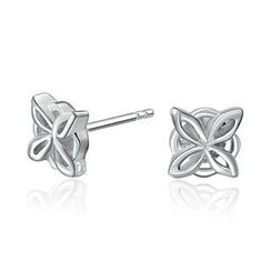 MBLife.com - Left Right Accessory -  925 Sterling Silver Quatrefoil Four Leaf Stud Earrings, Women Girl Fashion Jewellery