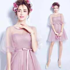 Angel Bridal - Puff-Sleeve Mini Prom Dress