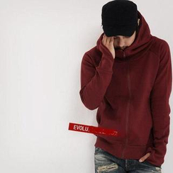 Evolu Fashion - Funnel-Neck Hooded Zip Jacket