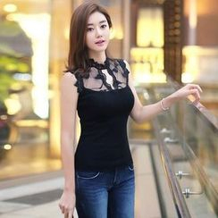 Styleonme - Lace Inset Sleeveless Top