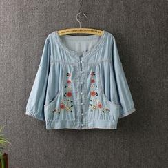 Blue Rose - Floral Embroidered 3/4 Sleeve Cropped Denim Jacket