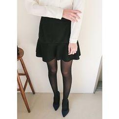 J-ANN - Elastic-Waist A-Line Miniskirt