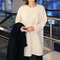 Seoul Fashion - Round-Neck Slit-Side T-Shirt
