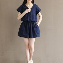 Snow Flower - Short-Sleeve Buttoned Playsuit