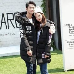 Rosehedge - Couple Matching Lettering Furry Trim Hooded Long Padded Coat