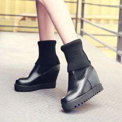 Pastel Pairs - Plain Hidden Wedge Boots
