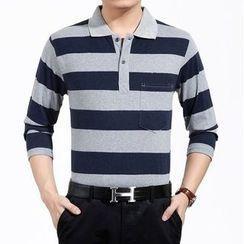 SENTA - Striped Long Sleeve Polo Shirt