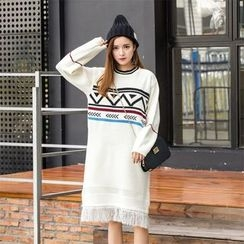Florie - Printed Fringed Sweater Dress