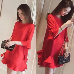 QZ Lady - Ruffle Hem 3/4 Sleeve Chiffon Dress
