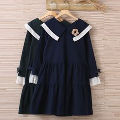 Blue Hat - Long-Sleeve Paneled Dress