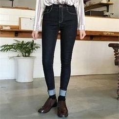 QNIGIRLS - Stitch-Trim Skinny Jeans