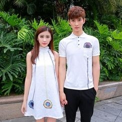 Azure - Couple Matching Polo Shirt / Sleeveless A-Line Dress