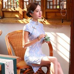 Janelle Qipao - Cap-Sleeved Lace Qipao