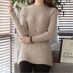 CHICFOX - Round-Neck Rib-Knit Top