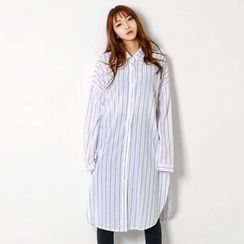 FASHION DIVA - Drop-Shoulder Stripe Shirtdress