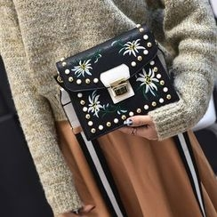 Secret Garden - Embroidered Faux Leather Crossbody Bag