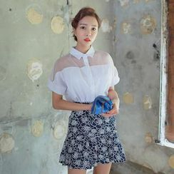 WITH IPUN - Mesh-Yoke Short-Sleeve Blouse