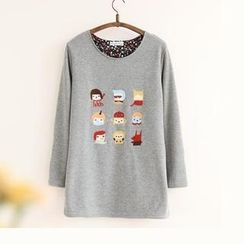 11.STREET - Floral-Trim Embroidered Long-Sleeve Top