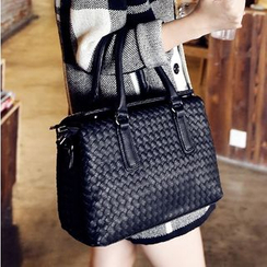Youshine - Faux Leather Woven Shoulder Bag