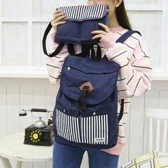 AIQER - 套装: 条纹帆布背包 + 斜挎包