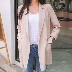 Envy Look - Double-Breasted Linen Long Blazer