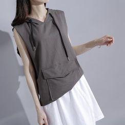 Sonne - Drawstring Hooded Sleeveless T-Shirt
