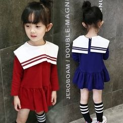 Merry Go Round - Kids Long-Sleeve Sailor Collar Dress