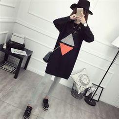 Loytio - Triangle Mock Neck Knit Tunic
