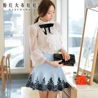 Dabuwawa - Lace-Trim A-Line Skirt