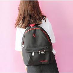 Bags 'n Sacks - Hoop Detail Embroidered Canvas Backpack