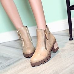 Shoes Galore - Block Heel Zip Side Short Boots