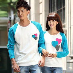 Igsoo - Couple Color Block Heart Print T-Shirt